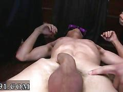 Frat boys gang bang a college pledge in twink orgy