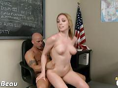 Lilly labeau's pussy slammed by a bald teacher