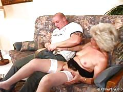 hairy, blowjob, white stockings, sideways, fingering pussy, tattooed guy, on couch, blonde granny, outrageous grannies, berta xx, cobra
