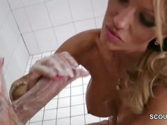Not mom caught stepson in shower and give perfect handjob