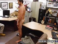 Chubby guy jacks his cock off for some pawn shop cash