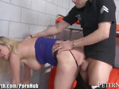 Busty milf gives jail cell blowjob