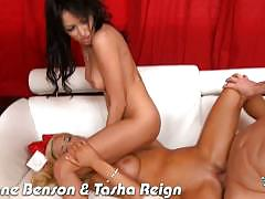 College chicks breanne and tasha fucking in 3some.