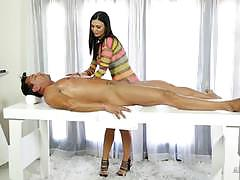 jasmine jae, brunette, blowjob, doggystyle, cumshot, handjob, heels, wank, oil, fishnet, massage, glory hole, jerk off, sucking, gloryhole