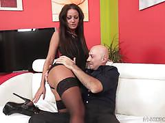 nia black, brunette, blowjob, riding, doggystyle, cumshot, stockings, cowgirl, pantyhose, sucking