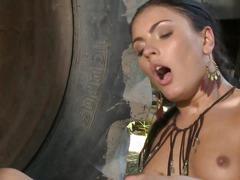 Sexy farm girl gets hard anal fuck outdoors