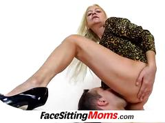 A boy is licking pussy of grandma vera during face sitting