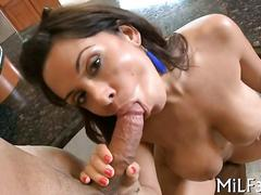 Big cock gets to be sucked by her wet mouth