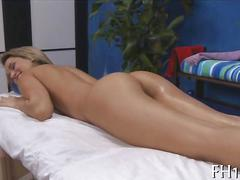 Trimmed blonde lets her masseur do anything they want