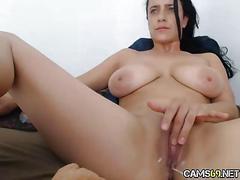 Big tit babe doggy toying on webcam