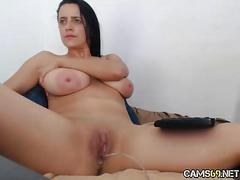 Big tit babe creamy pussy fingering on webcam