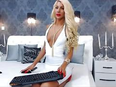 Tall blonde seductress teases in a white dress on webcam
