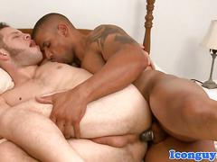 Ebony hunk slamming black cock in ass
