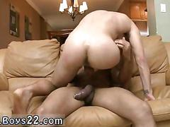Tall twink climbs a black boner and loves it