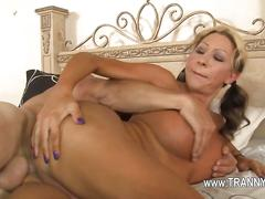 Big tits blonde tranny loves riding dicks all day long
