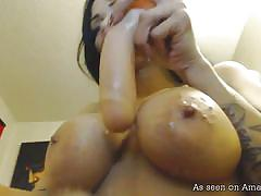 big ass, babe, solo, amateur, masturbating, dildo anal, big breasts, tattooed bunette, clit piercing, badass girlfriends, the gf network