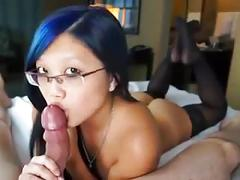 Sweet asian girl makes him explode