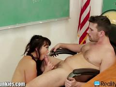 Chinese schoolgirl rides her well hung teacher