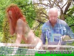 Redhead has this old man to please and gobble