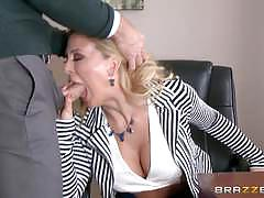 cherie deville, blowjob, riding, doggystyle, cumshot, facial, blonde, milf, desk, office, reverse cowgirl, stockings, work, cowgirl, boss, pussy licking, sucking