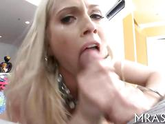 Busty blonde pornstar teases and strips for a deepthroat blowjob in pov