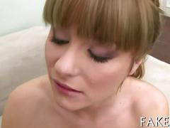 Small tits cutie from europe sucks off a fake agent