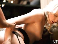 Blonde honey in black lingerie gets drilled doggy style after oral