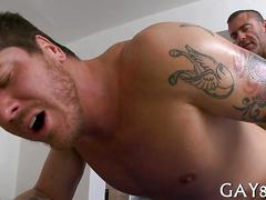 Tattooed masseur nails another straighty with his fat cock doggystyle