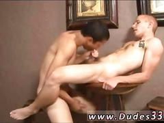 Twink sucks his fit boyfriends hard dick on a stool