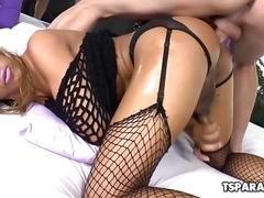 Latin tgirl kessy bittencour gets assfucked hard