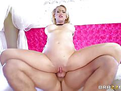Slutty blonde bimbo goes ass to mouth