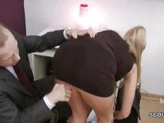 Big tit german milf get hard fuck in office by chef