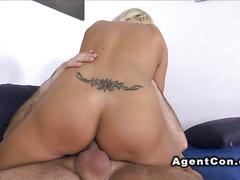 Mature blonde fucks fake agent