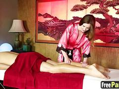 Stunning masseur pleases horny client with her skilled hands
