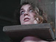 bdsm, busty, vibrator, tattooed, caned, brunette babe, device bondage, infernal restraints, infernal restraints, samsara
