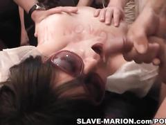 Slutwife eats cum and drinks piss from strangers