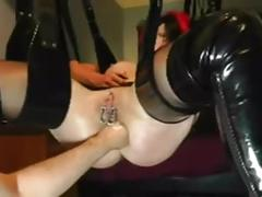 Ass fisting in sling