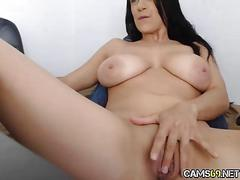 Hot babe big tits rubs clit on webcam
