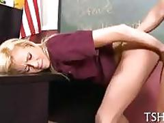 Blonde bitch gets fucked deep by her teacher