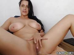 Hot babe big tits plays with pussy on webcam