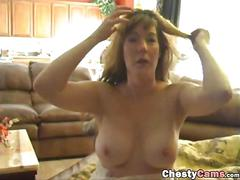 Busty milf showing her tits and pussy
