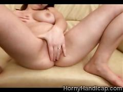 Big titty chubby beauty plays alone on the couch