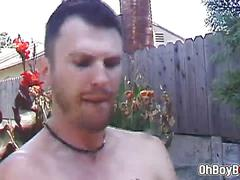 Hot outdoor gay blowjob and anal fuck