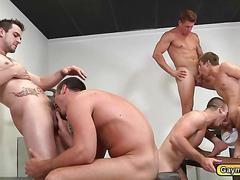 Gym buddies sucks dick and fucks anal