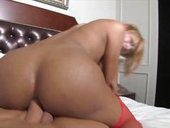 Nice shaped ladyboy gets fat cock