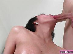 Beautiful asian shemale sofie sucks and is barebacked by guy
