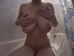 Oil and cum on big boobs