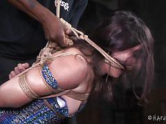 bdsm, high heels, punishment, suspended, brunette babe, mouth gagged, rope bondage, dildo on a stick, hard tied, amy faye, jack hammerx