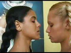 Two girls sloppy kisses