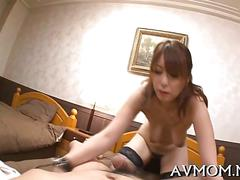 Japanese milf in hot stockings rides dick in pov